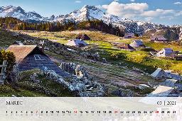 Mesec marec in prihajajočo pomlad oznanja na koledarju 2021 cvetoča Velika planina.