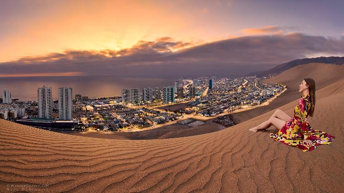 Iquique and sand dunes in Chile