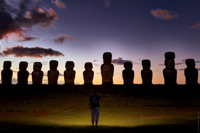 Moai statues on Easter island in morning blue hour