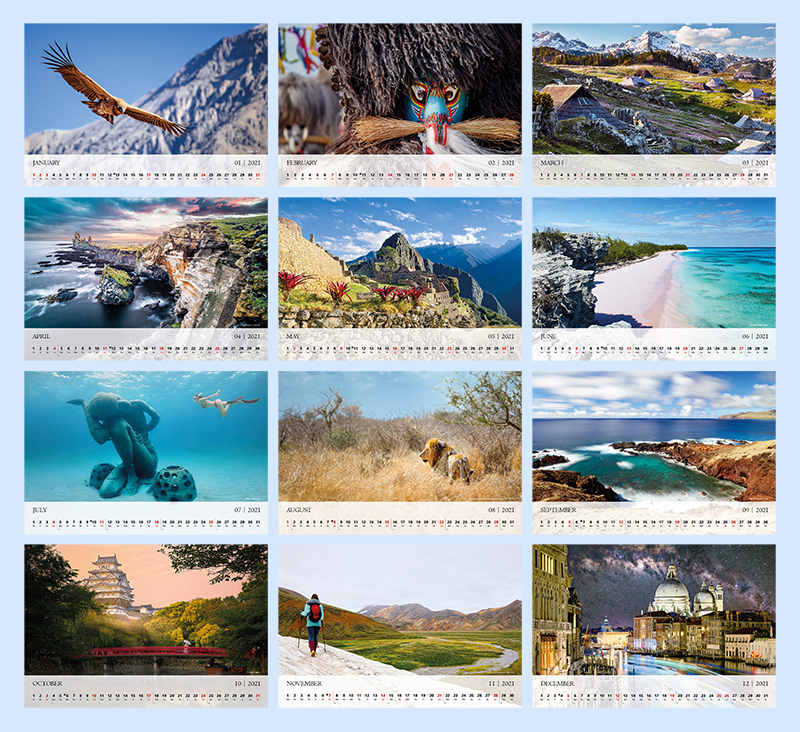 Calendar 2021 with photos from all around the world.
