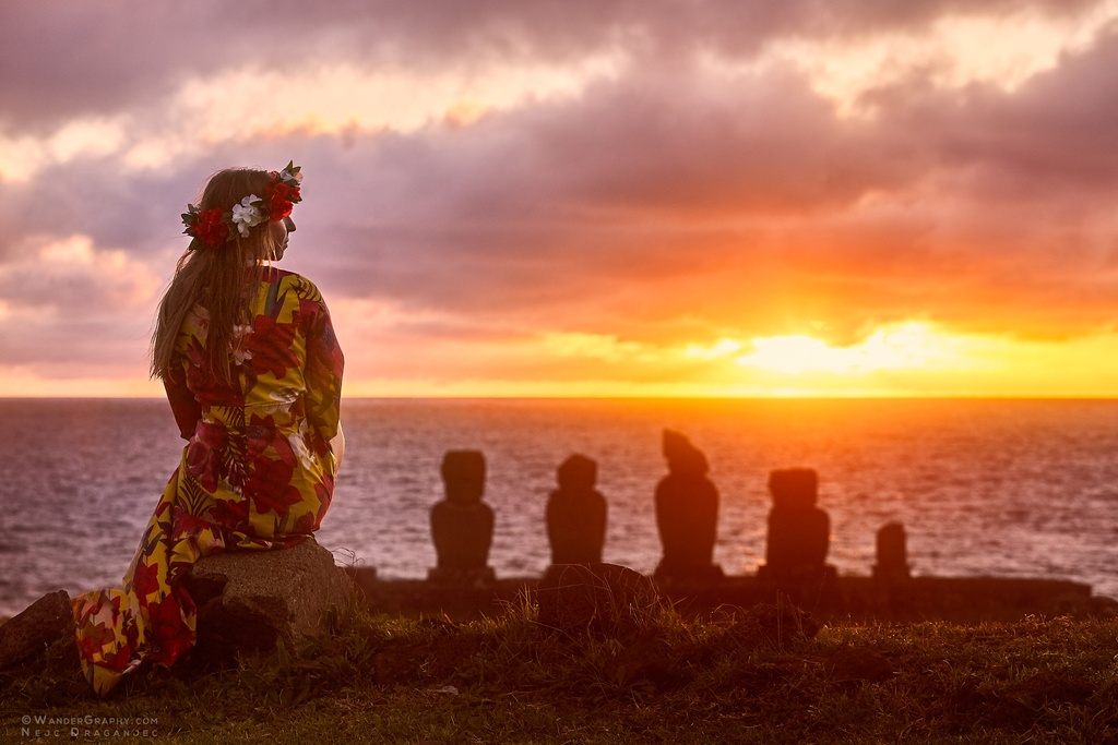 Sunset on Easter Island.